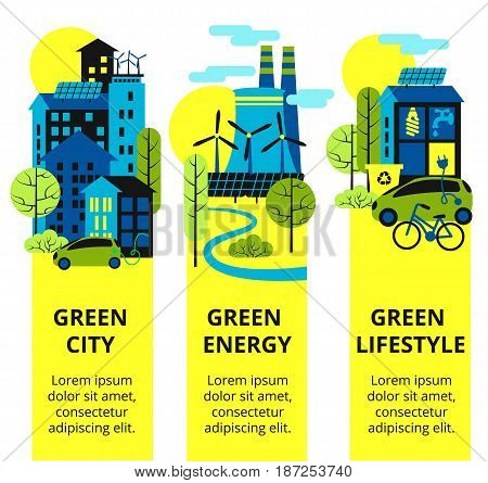 Environmental protection, ecology concept vertical banners set. Vector illustration. Eco-city, green energy, lifstyle. Solar panels. Green city set.