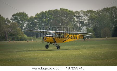 Biggleswade UK - 7th May 2017: Vintage De Haviland DH85 leopard moth readies for flight