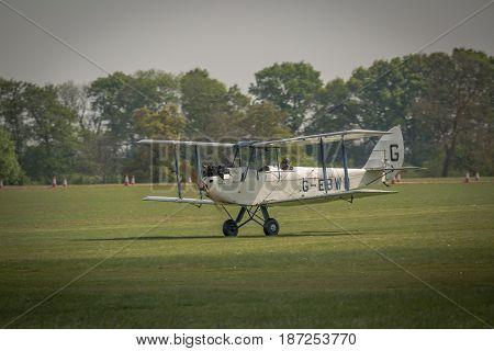 Biggleswade UK - 7th May 2017: Vintage De Haviland DH60 Moth readies for flight
