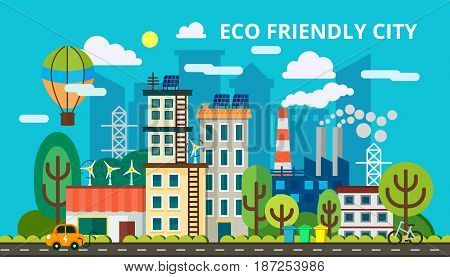 Modern flat design concept of smart green city. Eco friendly city, generation and saving green energy. Vector illustration for info graphic and web design