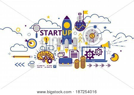 Startup business concept horizontal banner in flat line stile. Creative vector illustration with a lot of business icons. Can be used for web, graphic design and brochure.