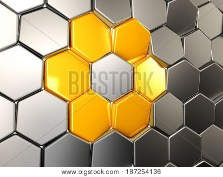 3D Illustration Abstract Yellow Hexagonal. Background With Hexagon Element
