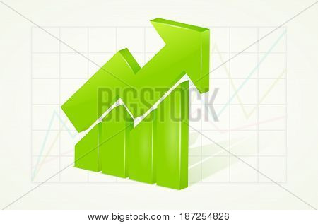 Abstract green 3D chart icons with arrow and shadow - vector illustration