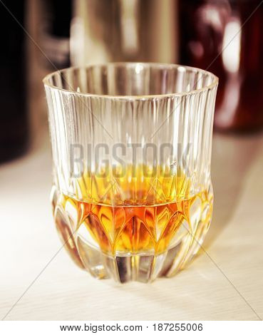 Crystal Glass With A Dose Of Pure Whiskey