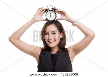 Young Asian Woman Smile With A Clock.