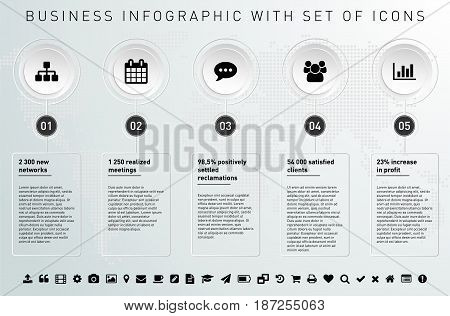 Modern design template for infographics with frames set of icons and sample text - vector illustration.