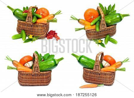 Vegetables in a basket and berries of a guelder rose. White background - horizontal photo.