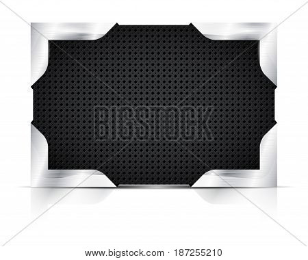 Metal plate with steel corners on white background - place for your text. Vector illustration.