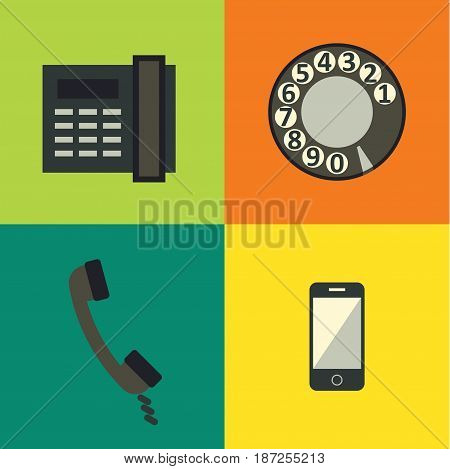 Vector illustration icon set of phone, techology background