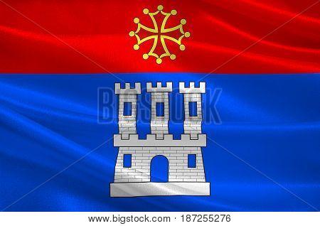 Flag of Castelsarrasin is a commune in the Tarn-et-Garonne department in Occitanie region of France. 3d illustration