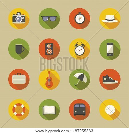 Vector illustration icon set: camera, glasses, compass, hat, drink, music, clock, phone bag guitar umbrella shoes life preserver book bus and tennis ball