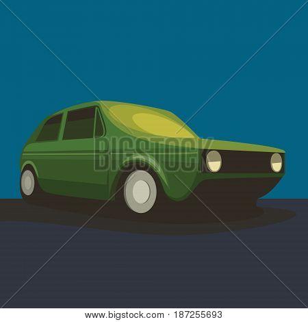 Car, Vector illustration dark background 3d oldschool, retro