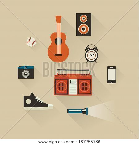 Vector illustration icon set of lifestyle: baseball, guitar, camera, tape recorder, telephone, clock shoes and flashlight