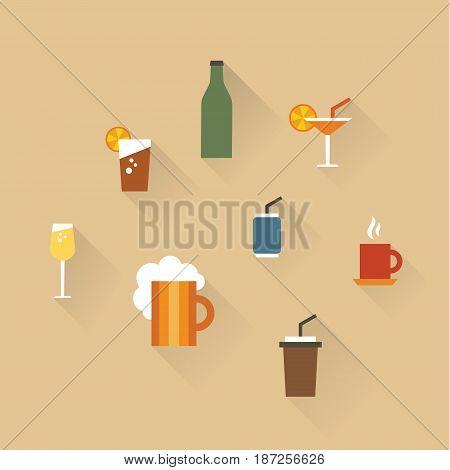 Vector illustration icon set of drinks: tea, lemonade, coffee, champagne beer cocktail