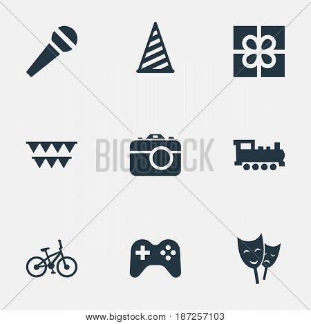 Vector Illustration Set Of Simple Holiday Icons. Elements Bicycle, Game, Train And Other Synonyms Present, Voice And Camera.