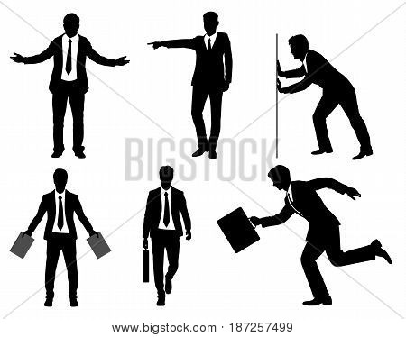 Vector illustration of a six businessmen silhouette poster
