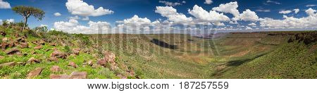 Panorama of the Grootberg mountain range Damaraland Namibia Africa