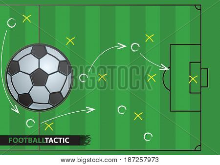Soccer game strategy plan. football background. Vector illustration. Sport infographics element.