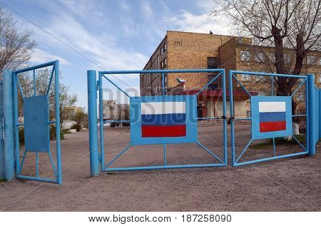 School for Russian kids..Former Soviet  anti-ballistic missile testing range Sary Shagan.Kazakhstan.May 6, 2017.Sary Shagan.Kazakhstan