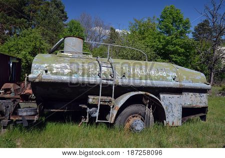 Military transport remains at area of Chernobyl-2.Duga radar. Russian woodpecker. Legacy of ex Soviet cold war times. Chernobyl exclusion zone. Zone of radioactivity.May 19, 2017.Kiev region.Ukraine
