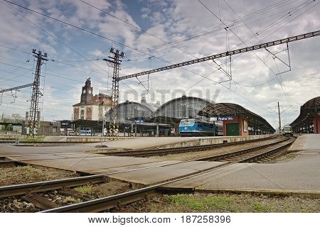 Praha, Czech Republic - May 08, 2017: Main Train Station In Prague On The 72Nd Anniversary Of The En