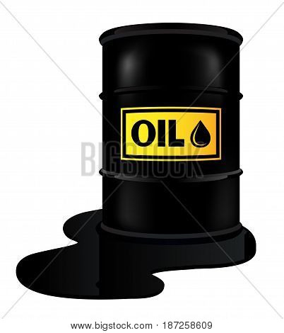 Vector illustration of a barrel with oil