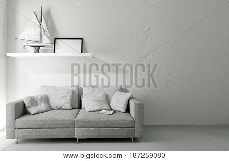 Comfortable sofa with cushions in a home interior with minimalist decor and a shelf holding a model toy yacht on the wall. 3d rendering.