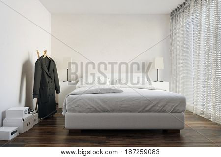 Neat compact white modern bedroom interior with a double divan bed, side cabinets with lamps, a coat on a rack and bright windows with lace curtains in a 3d rendering