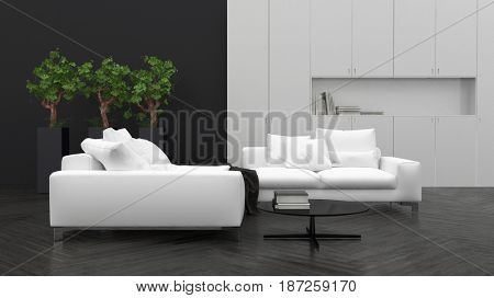 Comfortable minimalist living room interior decor with large white sofas, potted houseplants and a recessed light grey wall over dark parquet flooring in a 3d rendering