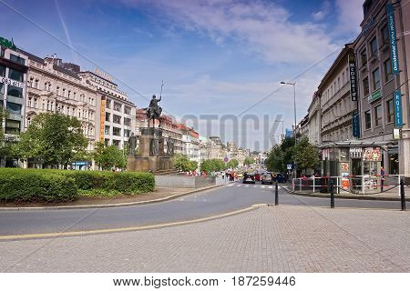 Praha, Czech Republic - May 08, 2017: Statue Of St. Wenceslas On Wenceslas Square In Spring Morning