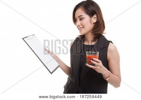 Asian Business Woman With Clipboard And  Tomato Juice.