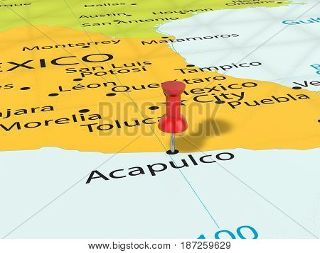Pushpin On Acapulco Map 3D Illustration