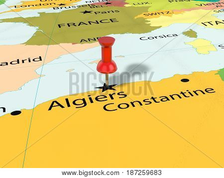 Pushpin On Algiers Map 3D Illustration