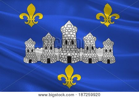 Flag of Chateau-Thierry is a French commune in department of the Aisne in the administrative region of Hauts-de-France and in the historic Province of Champagne. 3d illustration