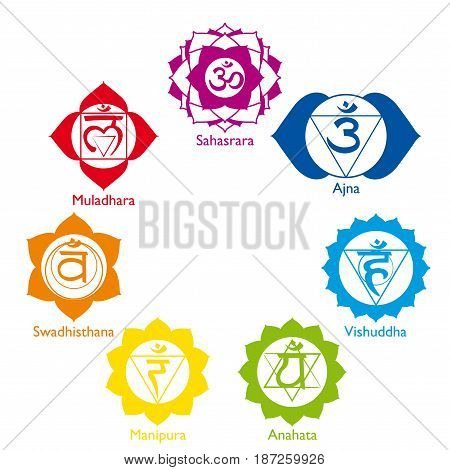 Set with the icons of the seven chakras in different colors with their names on white background - Vector image