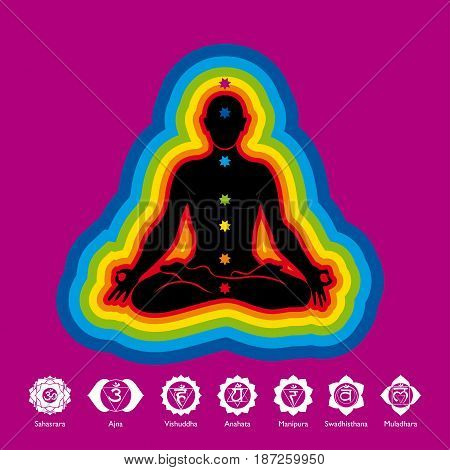 Black silhouette of man doing yoga in lotus flower position with aura of 7 colors on violet background with chakras icons - Vector image