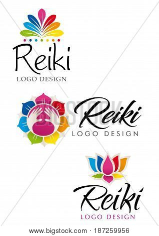 Three different Reiki logo with floral theme with the colors of the seven chakras - Vector image
