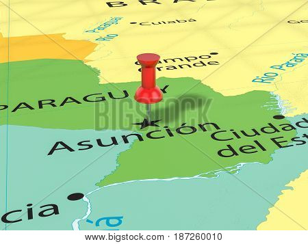 Pushpin On Asuncion Map 3D Illustration