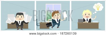 Vector illustration of a three businessmen in office