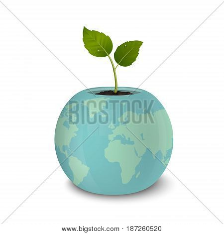 Ecology concept. Earth Day, World environmen day, Save the Earth or Green day. Vector background with sprout in a flower pot with a print of the Earth, isolated on white background. EPS10 illustration.