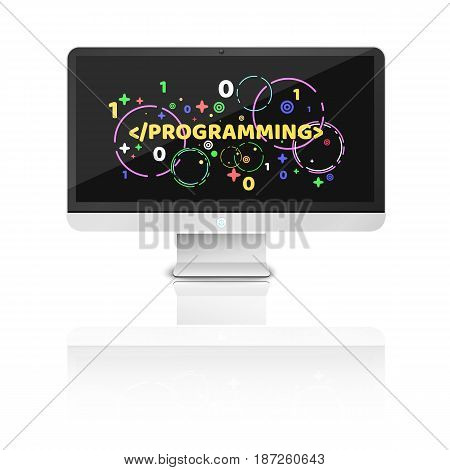 Modern computer on a white background. Mirror reflection. Multicolored pattern of characters. Programming in design. Binary code. Vector illustration. EPS 10