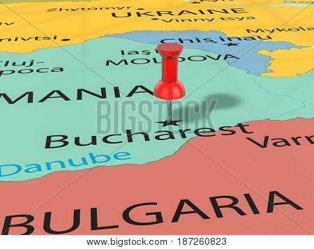 Pushpin On Bucharest Map 3D Illustration