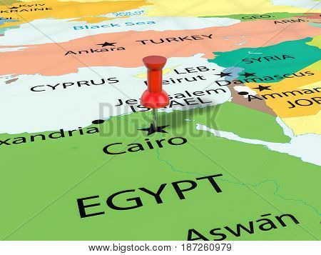 Pushpin On Cairo Map 3D Illustration