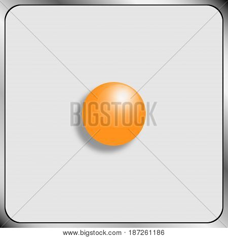 Abstract image of a bright yellow ball with a glare and shadow on a gray square background framed by a frame stylized under a metal