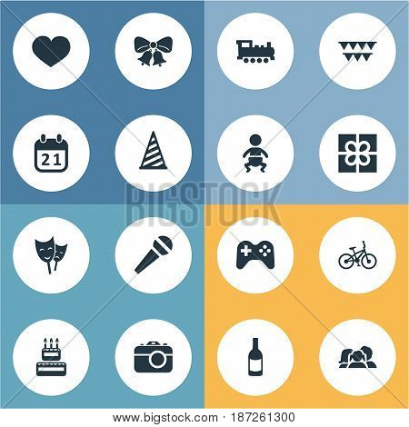Vector Illustration Set Of Simple Celebration Icons. Elements Special Day, Camera, Bicycle And Other Synonyms Heart, Voice And Day.