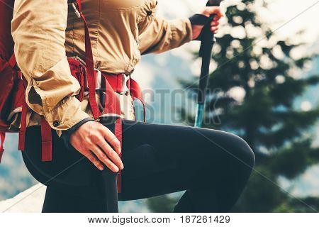 Traveler girl hiking with backpack Travel Lifestyle concept adventure summer vacations outdoor mountains climbing