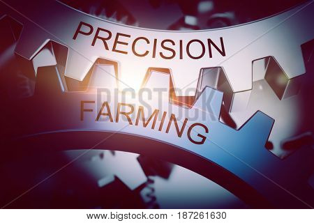 Precision and farming gears meshing, co-operative concept. 3d Rendering.
