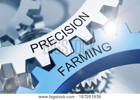 Precision Farming concept with intermeshed blue and silver cogs on gears with black text in a close up view. 3d Rendering.