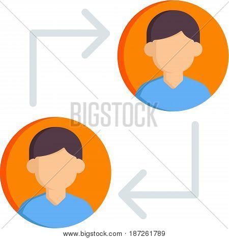 Arrows showing exchaenge (trade) between two people