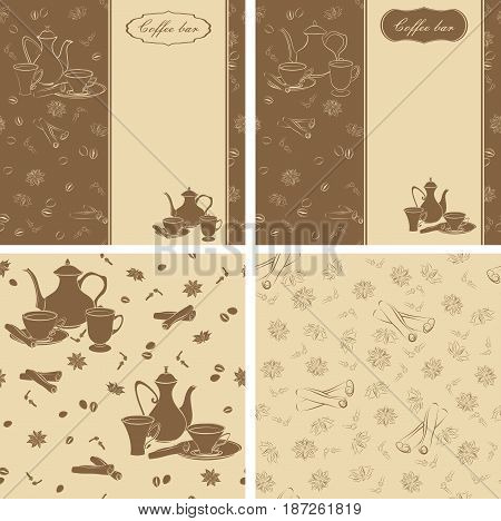 Set of backgrounds and seamless patterns with coffee pots, cups and spices.